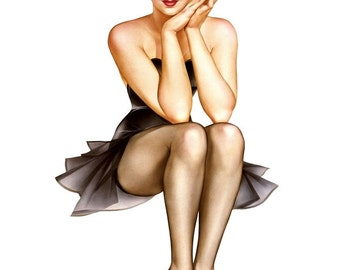 "Vintage Pinup Art Girl // 16""x20"" Printable Digital Download //Easy to Shrink// Pin Up Print Poster // Big Baby Blues by Alberto Vargas"