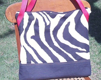 Zebra tote, 15x15,Zebra Tote Bag, Zebra Zipper Tote, Zebra Zipper Tote Bag, Tote, Bag, Purse, Pocketbook, Market Bag, Zebra Market Bag,
