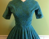 Vintage 50s 60s cotton blue green turquoise novelty print secretary party summer day dress full skirt *43 CLEARANCE