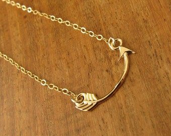 Gold necklace,  arrow necklace, gold filled arrow, necklace arrow, gold pendant arrow necklace, jewelry gift, bridesmaid gift
