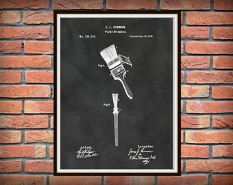 Patent 1873 Paint Brushes Art Print - Poster Print - Painters Wall Art - Gift for Him - Handyman Wall Art - Contractor Wall Art