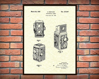 Patent 1950 Photographic Camera - Invented by Henry Dreyfuss - Art Print - Poster Print - Wall Art - Photography - Lithography