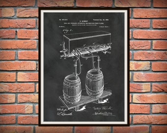 Patent 1900 Beer Apparatus Cold Air Pressure System Beer Process - Art Print Poster - Wall Art - Beer Brewing - Tavern Art - Bar Room Art