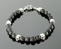 Mens black bracelet - Mens black bead bracelet with black gemstones: onyx, lava, silver plated skull beads and 20 colors to choose!
