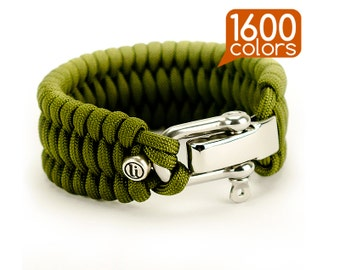 Paracord bracelet - Paracord survival bracelet «Wide» with real stainless steel buckle, our bead, ability to choose one of the1600 colors!