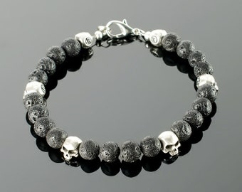 Mens black bracelet - Mens black bead bracelet with black gemstones: onyx, lava, silver plated skull beads and 20 colors to choose!