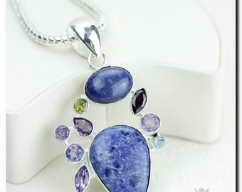 Sodalite Lavender Amethyst Peridot 925 SOLID Sterling Silver Pendant + 4mm Snake Chain & Worldwide Shipping