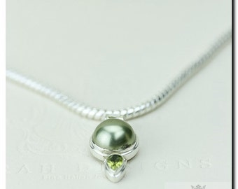 Classy Peridot JAPANESE Color TREATED ROUND Pearl 925 Solid Sterling Silver Pendant + 4mm Snake Chain & Free Worldwide Shipping P1776