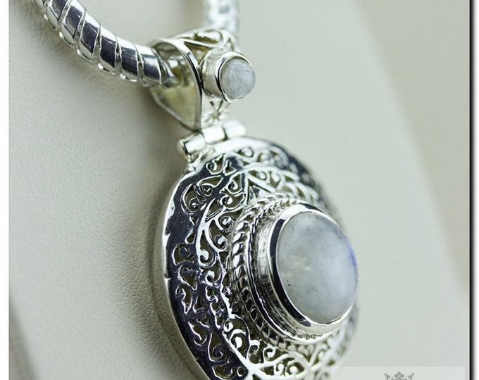 Filigree Royal Setting Moonstone Italian Made 925 SOLID Sterling Silver Pendant & 4mm Snake Chain + FREE Worldwide Shipping