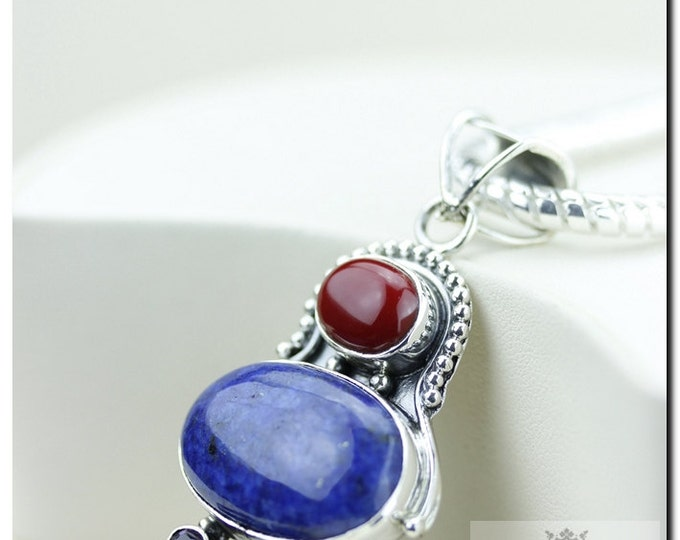 Made in Italy! Empire Setting Ancient Coral Lapis Lazuli 925 SOLID Sterling Silver Pendant + 4mm Snake Chain & FREE Worldwide Shipping