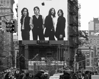 The Beatles Itune Ads, Chinatown, New York City, Black and White, Street Scene.