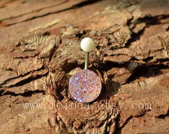 Clear and Pink Sparkling belly ring, blingbling belly button ring, Navel Piercing Ring Stud Piercing, belly jewelry
