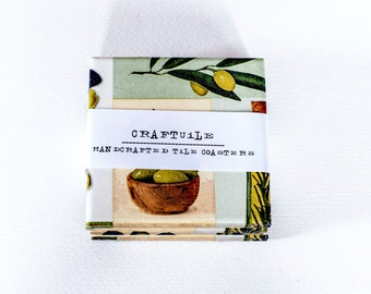Olives Pattern Ceramic Tile Coasters Set of 4