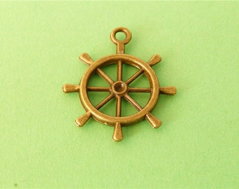 10 pcs of Antique Bronze  ship steering wheel Charms 25mm x 29mm