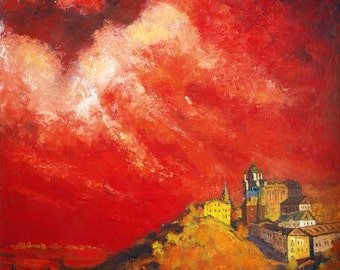 Red sunset. Origenalnoe author's solution. 1991. Oil on canvas 112 x 94 cm.