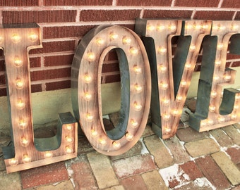 36 love letters marquee signs rustic industrial marque lighting w metal wood and vintage light bulb letter sign wall light