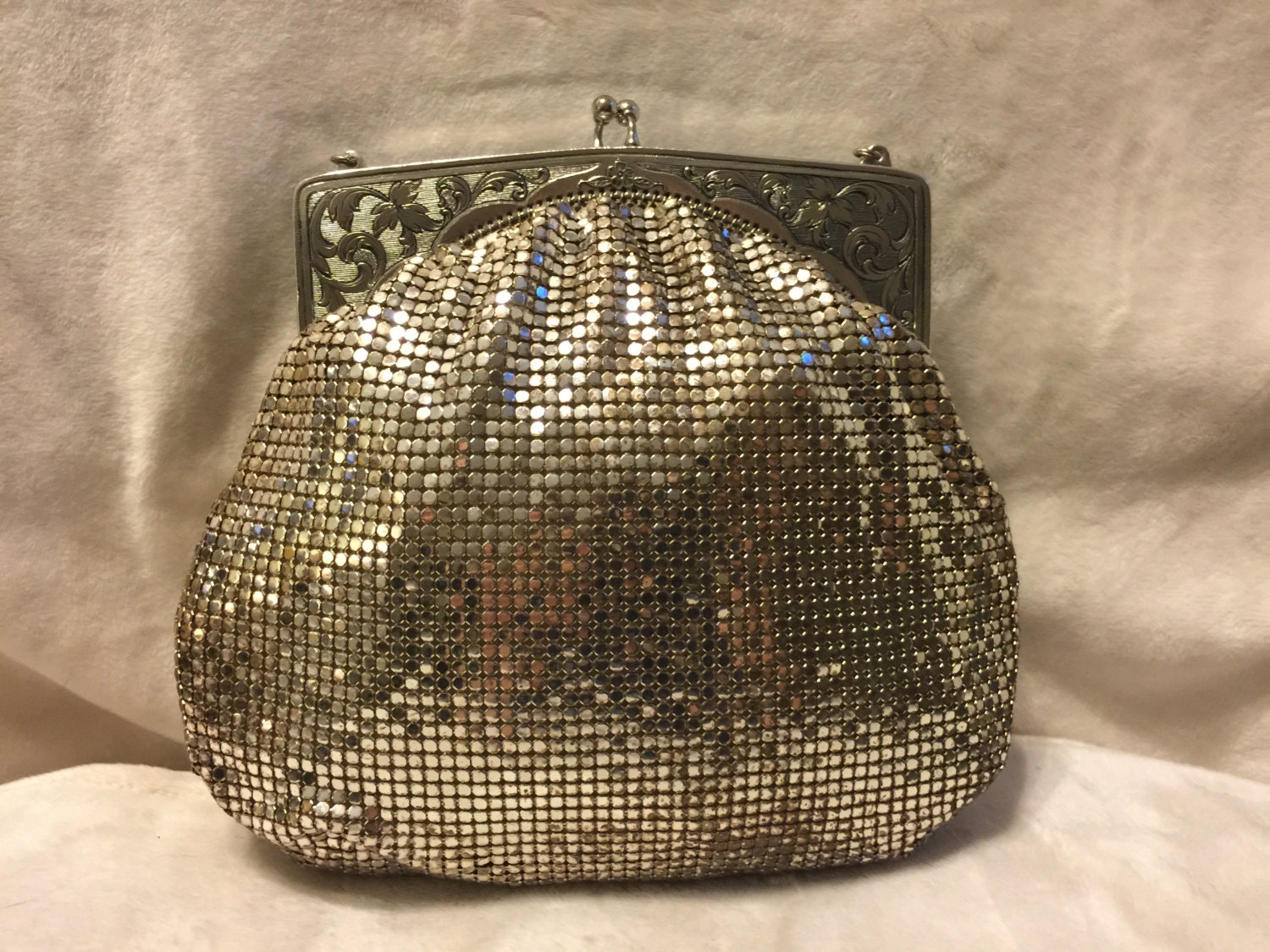 vintage whiting and davis silver mesh purse by theageinvintage