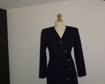Vintage Positive Attitude Royal blue button dress