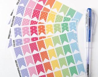 128 flag stickers, pattern stickers, banner bunting, planner stickers, reminder checklist sticker eclp filofax happy planner kikkik