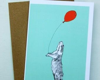 Prairie Dog with a Balloon Greetings Card