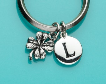 Four Leaf Clover Keychain, Four Leaf Clover Key Ring, Good Luck, Shamrock, Initial Keychain, Personalized Keychain, Custom Keychain, 149