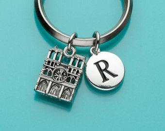 Notre Dame Keychain, Notre Dame Key Ring, Initial Keychain, Personalized Keychain, Custom Keychain, Charm Keychain, 262