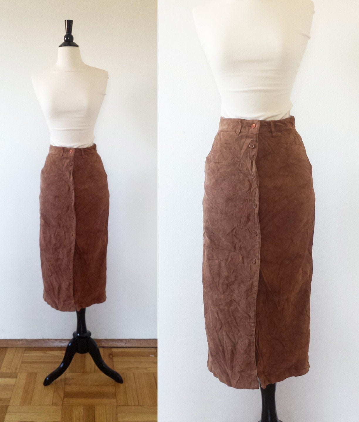 brown leather pencil skirt by bourbonsquared on etsy