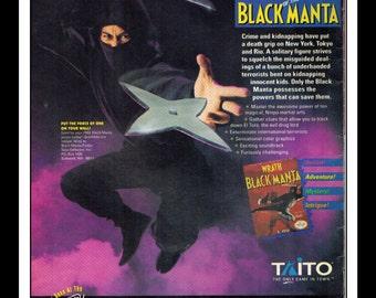 "Vintage Print Ad 1990's : Nintendo NES - Wrath of the Black Manta Wall Art Decor 6.5"" x 10"""