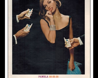 "Vintage Print Ad June 1962 : Chesterfield Cigarettes King Pamela 35-22-35 Sexy Girl Wall Art Decor 8.5"" x 11"" Advertisement"
