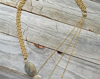 3-Stone Labradorite Angle Necklace