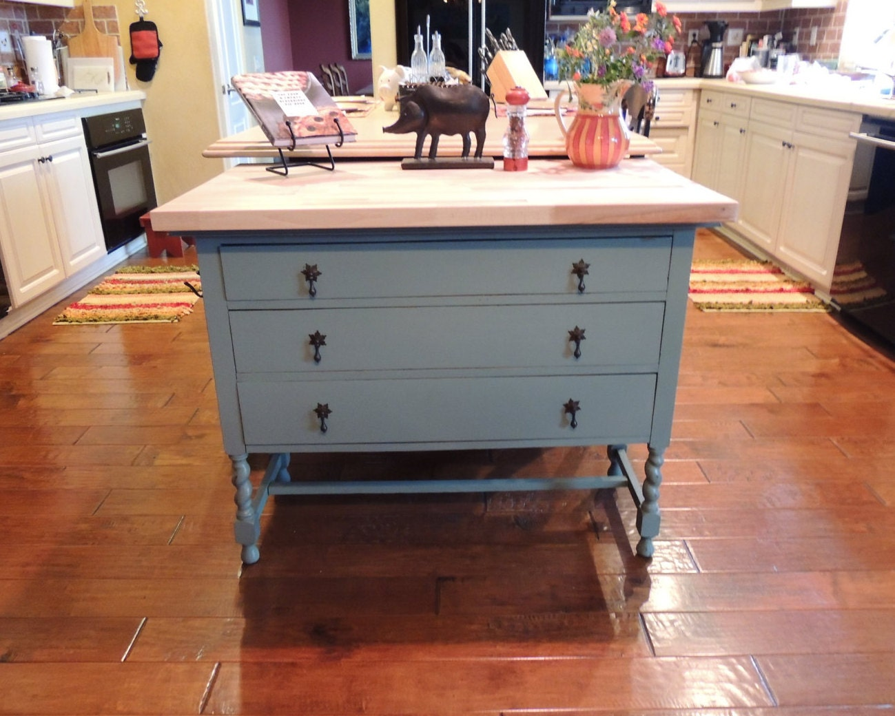 Repurposed Antique Dresser As A Kitchen Island With A: 1920s Vintage Repurposed Kitchen Island By OurVintageKitchenCo