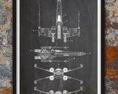 X-Wing Fighter Star Wars Wall Patent Print, Patent Art, Star Wars Poster, Star Wars Blueprint, Star Wars Patent Print, Plexity Prints #122