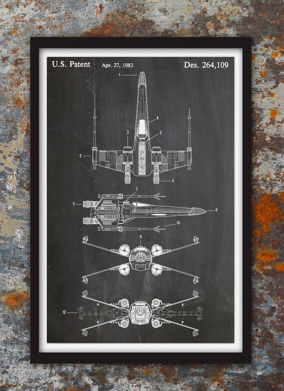 X wing fighter star wars wall patent print patent art star like this item malvernweather Gallery