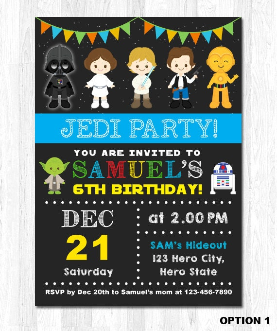 Star Wars Invitation Star Wars Birthday Invitation by ...