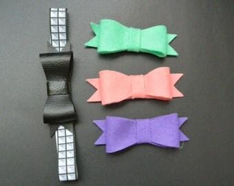 Faux Studded Bow Headband | Pick Color Of Bow | Punk Baby Toddler Newborn FOE Elastic Studs Felt Faux Leather Vegan Neon