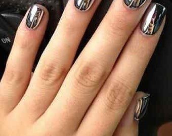 Acrylic press on nails etsy 2 full sets silver chrome nails 24 pieces artificial press on metallic art prinsesfo Choice Image