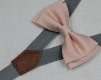 Pale pink bowties,BOWTIE SUSPENDER SET,gray/mid grey suspenders,infant bowties,toddler bowtie,boy bowtie,men bowties,wedding bowtie