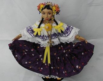 Custom Panama Doll, OOAK, Custom Panamanian Pride Doll, Polymer Clay Doll, Pollera Doll, Kuna Doll, Polymer Pollera Doll, Polymer Kuna Doll