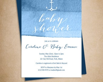 Nautical Baby Shower Invitation DIY // Elegant Calligraphy on Blue Ombre Watercolor Printable PDF ▷ Baby Shower Invite Printable
