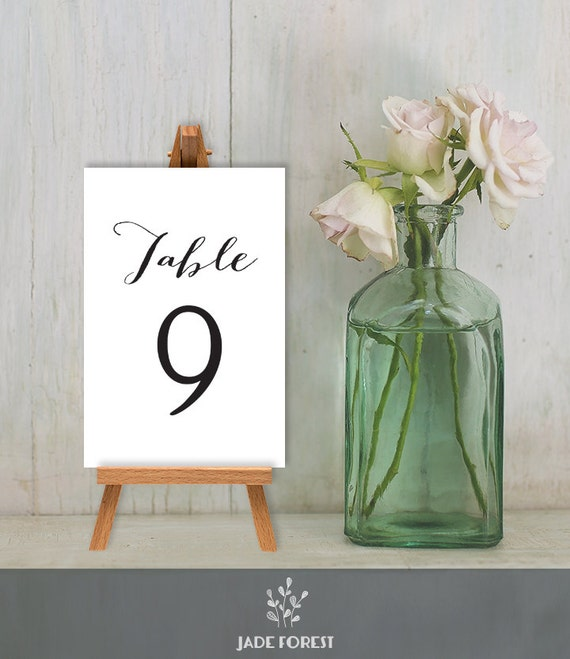 Wedding Reception Table Number DIY Trendy Calligraphy Cards