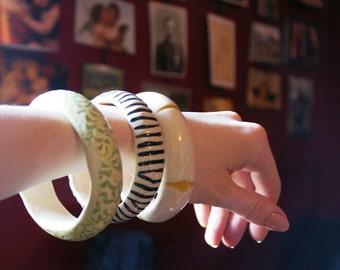Hand Made Bangle Bracelets (Hand-formed, High-fired Ceramic bracelets)
