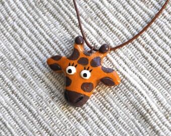 Lovely Giraffe ocher pendant Polymer clay jewelry Giraffe necklace FREE SHIPPING