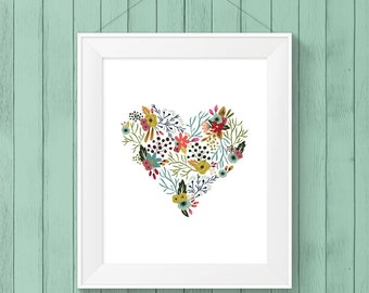 Printable Art - Nursery Art - Flower Heart - Floral Print  - Instant Download - Digital Download