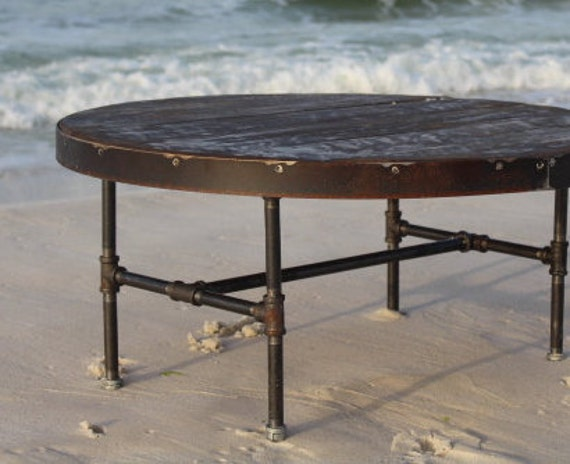 Round coffee table metal and wood table metal trim table Industrial metal coffee table