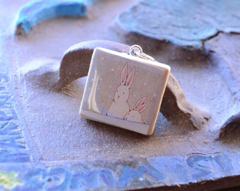 Scrabble tile pendant, bunnies, snowflakes, cartoon, ball chain