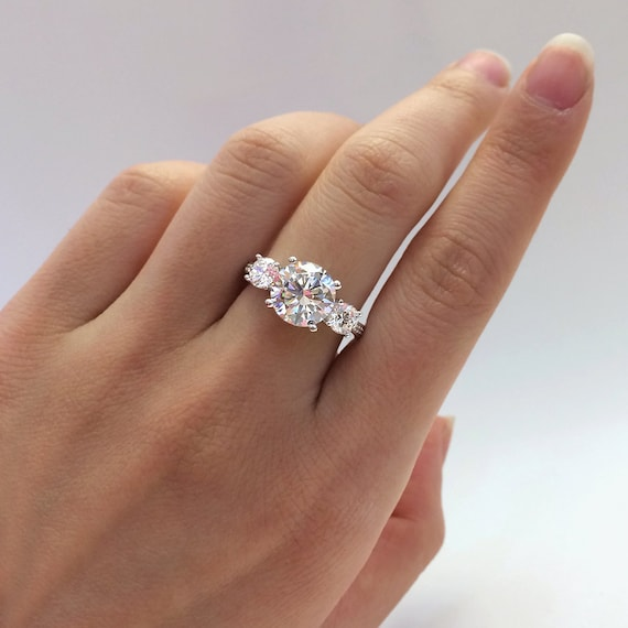 3.16 Ct.tw Engagement Ring-Brilliant Cut Diamond By Besbelle