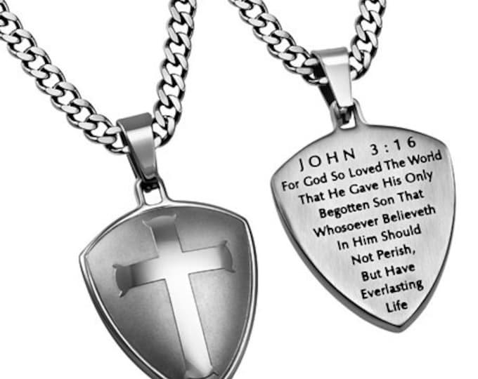 """Silver R2 Shield Cross """"John 3:16"""""""