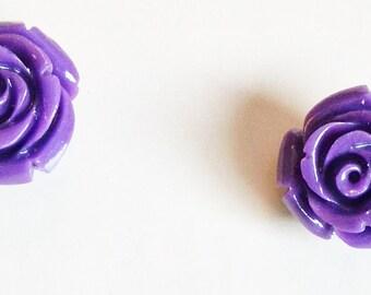 Purple Rose Earrings E194