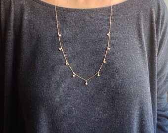 Long Gold Pearl Necklace, Tiny Pearl Chain, Freshwater Pearl Droplet Necklace, Dainty Pearl Layer Necklace, Tiny Pearl Simple Gold Necklace