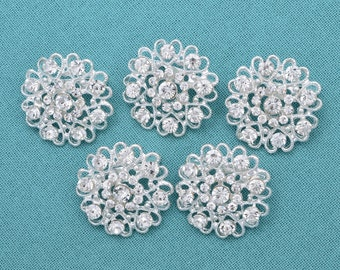 5 pc Brooches Rhinestone Crystal Brooches Silver Clear Crystal Wedding Brooches Rhinestone Bridal  Brooches Craft Supplies